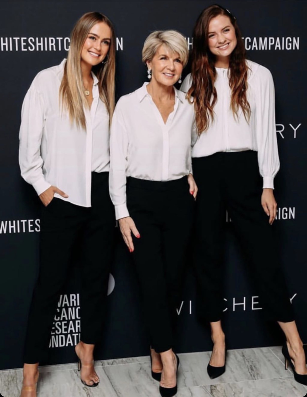 Steph Claire Smith, Julie Bishop, Laura Henshaw for Witchery White Shirt campaign.